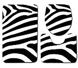 Juego De Alfombrillas De Baño 3 Piezas Transpirables Antideslizantes, Alfombrilla De Baño + Pedestal + Alfombrilla Cubierta De Asiento De Inodoro Tres Piezas Franela Patrón Rayas Cebra Negras