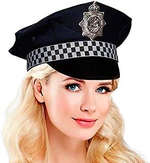 Gorra Policía Tela Damero: Amazon.es: Juguetes y juegos