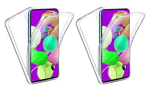 TBOC 2X Funda para Samsung A51 [6.5'] - [Pack:Dos Unidades] Carcasa [Transparente] Completa [Silicona TPU] Doble Cara [360 Grados] Protección Delantera Trasera