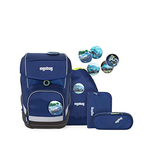 ergobag cubo Set - ergonomischer Schulrucksack, Set 5-teilig - BlauchlichtBär - Blau