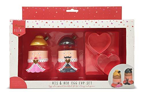 Liefhebbers Valentijnsverjaardag paar keramiek paar eieren bekers met liefde hart toast snijden stempel