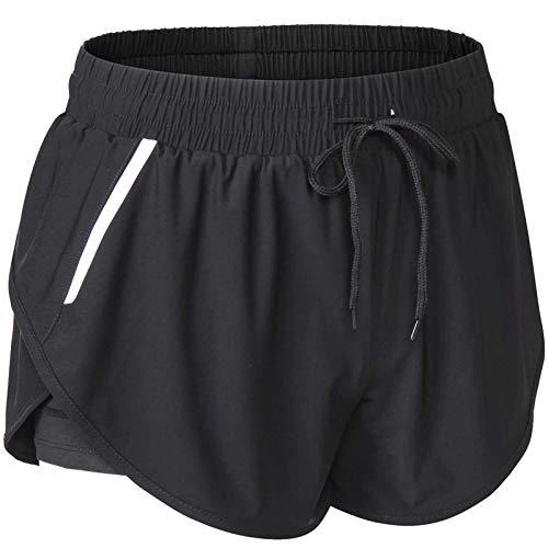 XiuLi Damen Laufshorts mit Taschen Turnhose 2 in 1 Shorts Doppellagige Kurze Hose Pyjamashorts Mehrschichthose für Damen Jogging Yoga (Color : Black, Size : S)