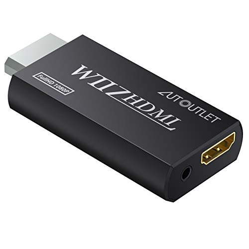 AUTOUTLET Wii HDMI Converter / Wii a HDMI - Báscula de señal Wii a 720p y 1080p WII a HDMI WII2HDMI 720P o 1080P adaptador de video HD HDTV 3,5 mm, color negro