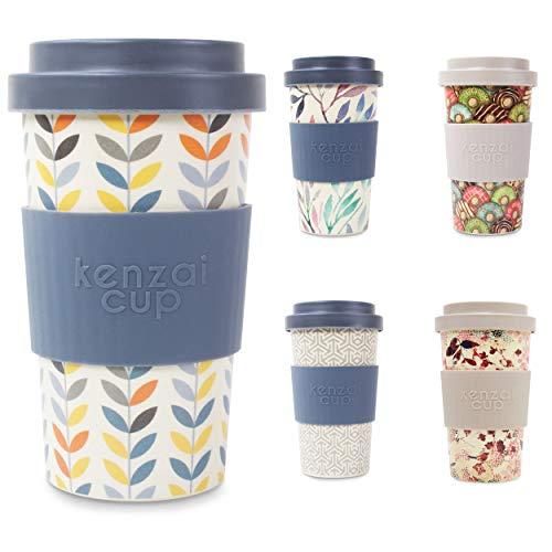 Yum Asia Kenzai Cup 400ml wiederverwendbarer Schraubverschluss Deckel Bambus Kaffeetasse (Small Leaf)