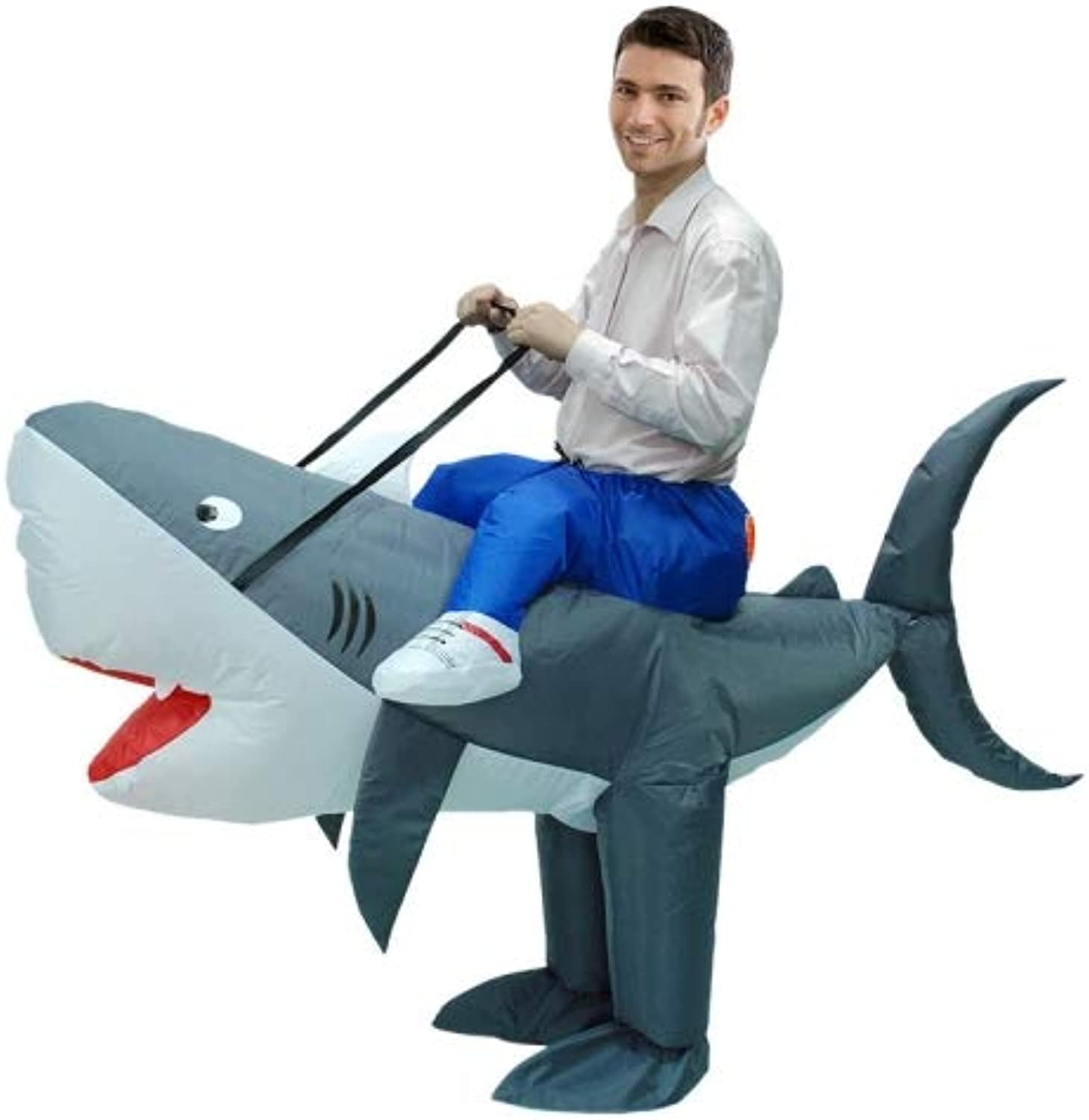 Operated Inflatable Shark Fancy Polyester Dress Halloween Party Costume for Adult, Recommended Height  1.5-1.9m