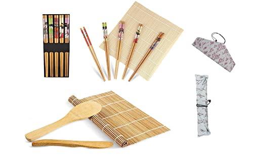 Horbax Kit Sushi 10 pezzi, Set Sushi in bambù, Tappetino per Arrotolare Il Sushi, Sushi Kit Include 2 Tappetini in bambù, 5 Paia di Bacchette, 1 Spatola per Riso, 1 Coltello, 1 Sacco