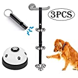 XIRGS Dog Bell, Training Potty Pet Doorbell Adjustable Door Press Bell for Toilet Training Hunting 7 Large Dog Training Bells Clear Ring Pet Tool Communication Device with Whistle (Black Strape+White)