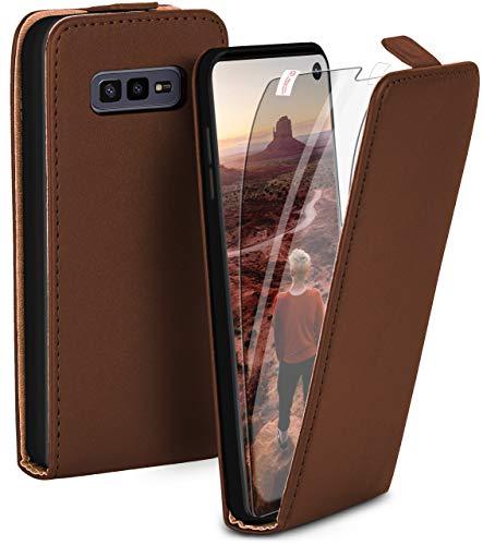 moex Flip Hülle mit Schutzfolie für Samsung Galaxy S10e - Handytasche klappbar, Dunkelbraun