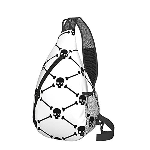ZHOUWE Mochila bandolera con diseño de calavera y cuervo, Negro, Talla única
