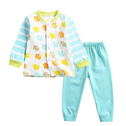 OHmais Bébé fille garçon Unisexe Grenouillère ensemble de pyjama 2 pieces coton rayure bleu size 110