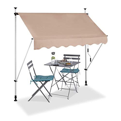 Relaxdays, beige Klemmmarkise, Balkon Sonnenschutz, einziehbar, Fallarm, ohne Bohren, höhenverstellbar, 200 cm breit