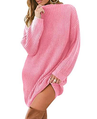 Vestido Punto Jersey Mujer Vestidos de Punto Cortos Manga Larga Jersey de Vestir Largo Mujer Sueter Jerseys Largos Grueso Señora Jerséis Jerseis Sweaters Suéter Pullover Tejido Otoño Invierno