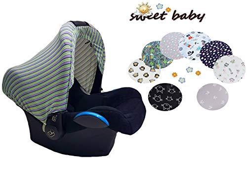 Little Sweetz ** STYLE UV HOODY ** Universal Verdeck für Maxi Cosi Cabrio/CabrioFix/Pebble/Citi, Römer und andere Babyschalen Gruppe 0+ als Sonnenschutz/Sonnenverdeck (MultiStripe)