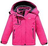 Wantdo Girl's Watertight Ski Fleece Jacket Winter Warm Raincoats Rose Red 10/12