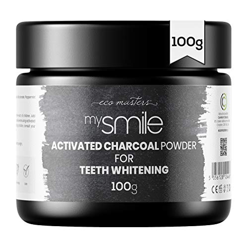 mysmile Aktivkohle Pulver 100g - Natürlich aus Kokosnuss - Aktivkohlepulver für weiße Zähne - Teeth Whitening Activated Charcoal Powder - Zahnaufhellung Pulver - Vegane & Geprüfte Zutaten