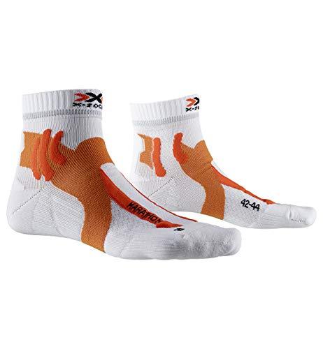 X-Socks Marathon Socks, Mens, Arctic White/Dark Ruby, 45-47