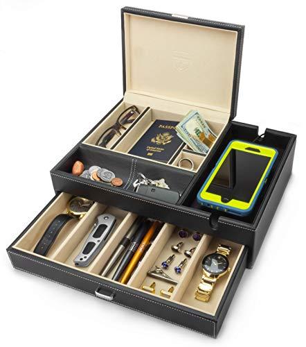 HOUNDSBAY Admiral Kommode Valet Box & Herren Schmuck Box Veranstalter mit Ladestation Smartphone (Elfenbeinfarbe)