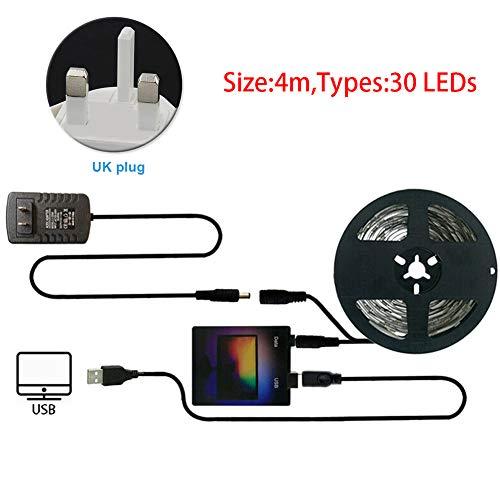 Kit de tira de luces LED, retroiluminación para computadora con superviscosidad, sistema de retroiluminación USB para monitor de pantalla WS2812, No nulo, como se muestra en la imagen, 4m 30 lights