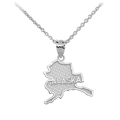 Alaska State Map Pendant Necklace in 925 Sterling Silver, 18'