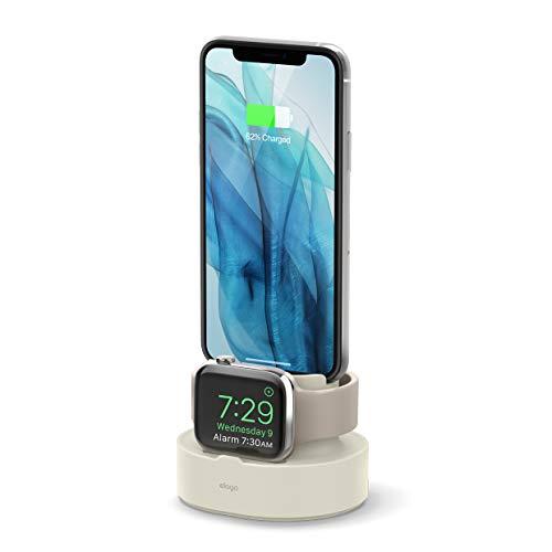 elago 2 en 1 Soporte Base de Carga Compatible con AirPods 1/2, Apple Watch Series SE y 6,5/4/3/2/1, iPhone 11 y Todos Modelos de iPhone (Necesario Cable Original - NO Incluido) (Blanco Clásico)