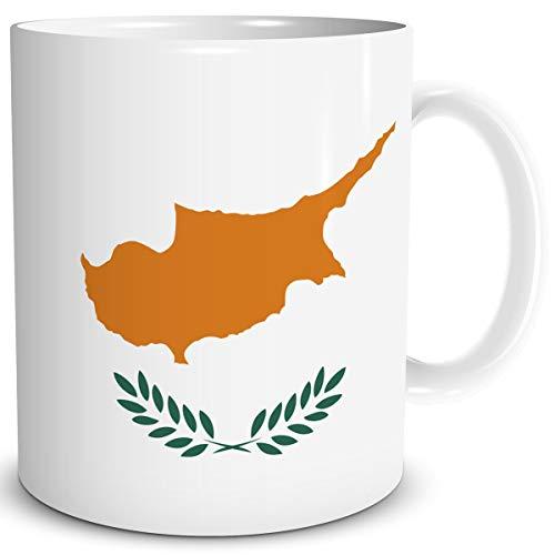 TRIOSK Tasse Flagge Zypern Länder Flaggen Geschenk Insel Souvenir Cyprus für Reiselustige Frauen Männer Arbeit Büro Weltenbummler