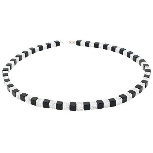 Kette Collier aus Onyx & Bergkristall schwarz-weiß Würfel Halskette Damen