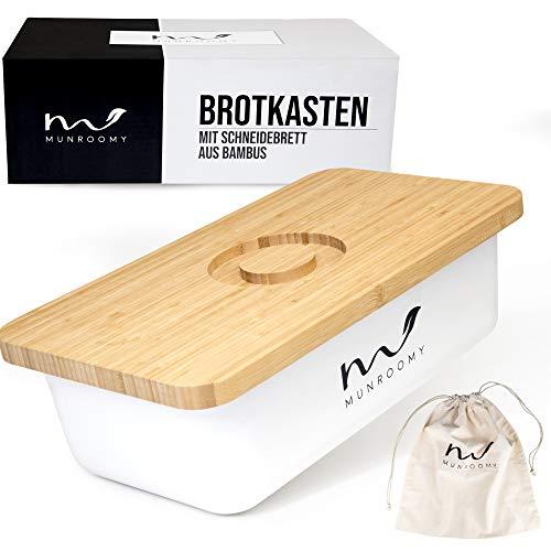 Munroomy Brotkasten mit Schneidebrett & Baumwoll-Brotbeutel | gegen schimmeln & austrocknen | ideal zum Brötchen & Brot aufbewahren | Brotbox mit Holzdeckel