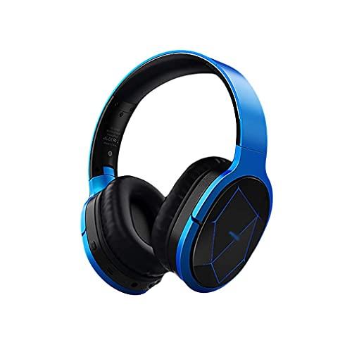 Auriculares Auriculares Bluetooth inalámbricos sobre Oreja con micrófono Estéreo Auriculares Ajustables Modo con Cable Wireless Cómodo Earpads Gaming (Color : Blue)