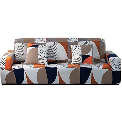 ARNTY Fundas Sofa Elasticas 1/2/3/4 Plazas,Cubre Sofa,Fundas para Sofa,Decorativas Fundas de Sofa Protector para el Sofa Chaise Longue (Vistoso-Patrón Geométrico, Funda Sofa 1 Plaza:90-140cm)