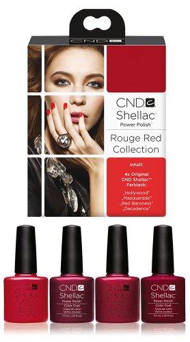 CND Shellac UV/LED d'alimentation polonais, Hollywood/Masquerade/rouge Baronne/Décadence 7.3 ml – Lot de 4