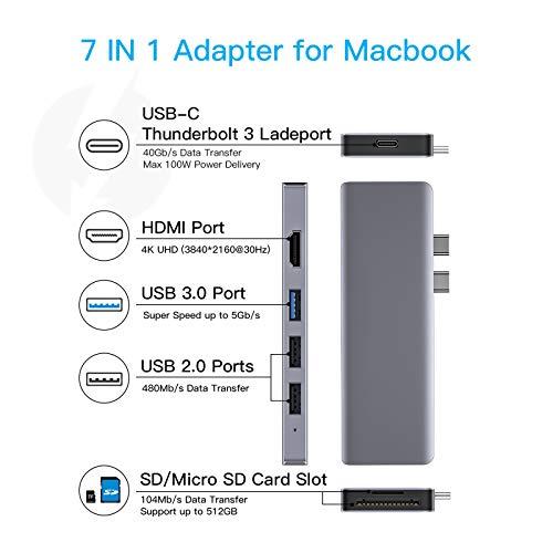 HOTUCG USB C Hub, 7 IN 1 USB C Adapter mit Thunderbolt 3 100W PD, 4K HDMI, SD/TF-Kartenleser, USB 3.0/USB 2.0, USB-C Adapter Hub für MacBook Pro 2020/2019/2018/2017/2016, MacBook Air 2020/2019/2018