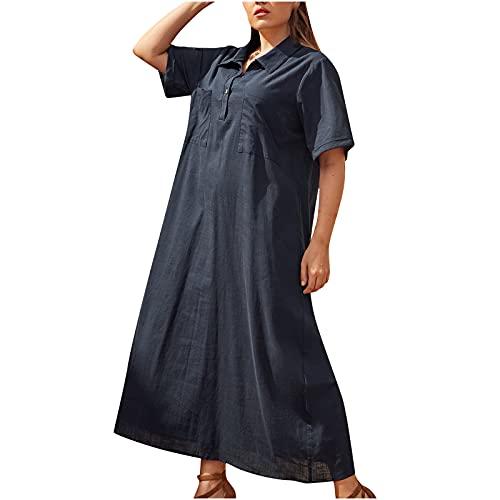 TTivxe Plus Size hemdjurk dames zomer lange shirtjurken elegante blousejurk lichte zomerjurken grote maten maxi-jurken, marineblauw, 4XL