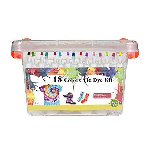 Kit de teñido anudado,teñido anudado juntos kit de teñido anudado, ropa - Kits de teñido anudado para manualidades creativas juego de teñido de tela para bricolaje juego de pintura textil 18 colores