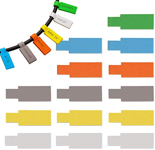 60-Pack Self-Adhesive Cable Label EVA Foam Waterproof Cord Labels Handwriting Cable Organize Wire Tags for Cable Management and Identification for Electronics Computers and More (Rectangular)