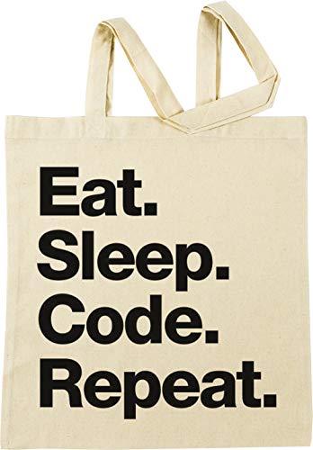 Eat Sleep Code Repeat Beige Einkaufstasche