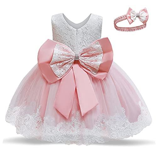 TTYAOVO Bébés Filles Brodés Tulle Fleur Princesse Demoiselle d'honneur De Mariage Fête d'anniversaire De Robe Taille 90 (12-24 Mois) 648 Rose