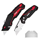 KATA 2-Pack Utility Knives, Heavy Duty Retractable and Folding Box Cutter for Cartons, Cardboard and Boxes with Blade Storage Design, Extra 6 Blades Included,box cutters retractable