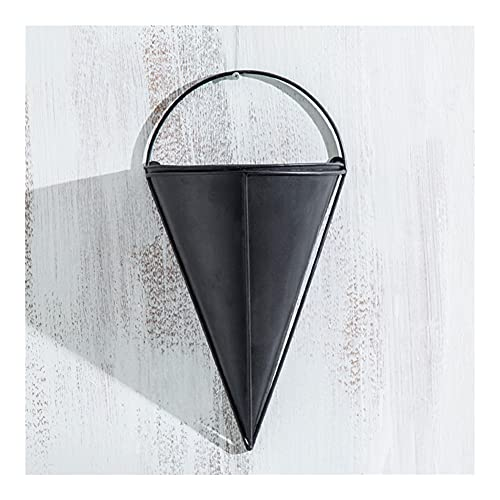 JINGZI Creative Semi-cone Flower Pot Wall Hanging Western Restaurant Gourmet Shop Wall Simple Flower Wall Decoration (Color : Black)