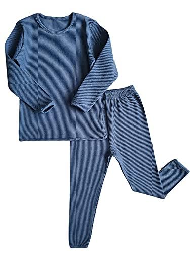 Conjunto Algodon Dos Piezas, Pijamas para bebe,niñas,niños,pantalones y manga larga, trajes para bebes, Acanalados, a Rayas, Otoños Invierno, Ropa de Abrigo(2-3 Años, Azul)