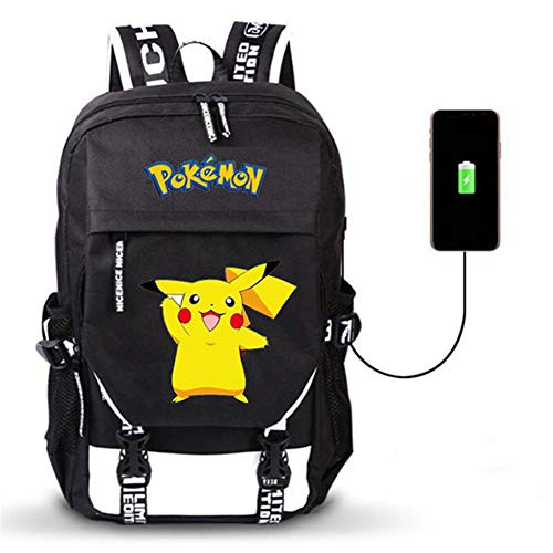 Anime Cosplay Pokemon mit USB-Ladeanschluss Bookbag Messenger Bag Rucksack (Schwarz6)