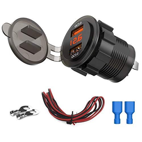 ZDZHU Enchufe de Cargador USB QC3.0 Dual 3 en 1, Adaptador de Toma de Corriente de Carga rápida a Prueba de Agua 36W 3.0, con voltímetro, para autocaravanas de 12 V / 24 V