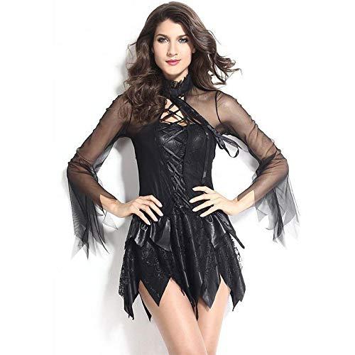 ZXYSR Vestido de Mujer, Vestido de Diablo de ángel Blanco y Negro Disfraz de Fiesta de Disfraces, Lady Evil Night Fairy de ángel Reina Negra Disfraz de ángel Oscuro Medieval Sexy,L