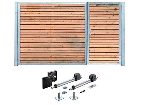 Einfahrtstor Verzinkt Holz Tor quer Asym. 2-flügelig Elektro 300cm x 180cm
