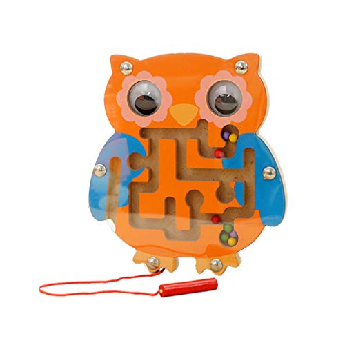 NUOBESTY Magnet Perle Labyrinth Puzzle AFFE Eule Form Magnet Holz Labyrinth Spiel Spielzeug für Kinder Kleinkinder (Zufällige Farbe)