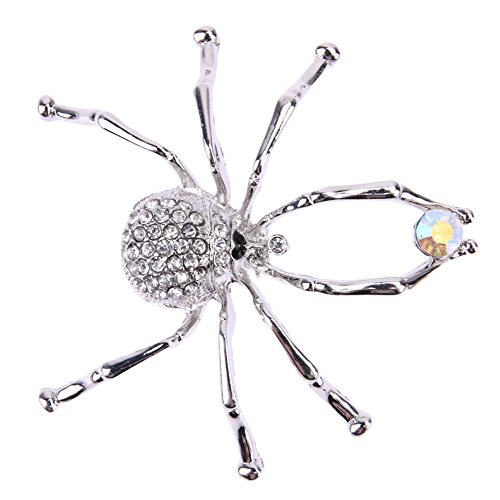Demiawaking Elegant Diamond-studded Spider Brooches Crystal Brooch Pins Women Corsage Wedding Bouquet Decor for Ladies, Silvery