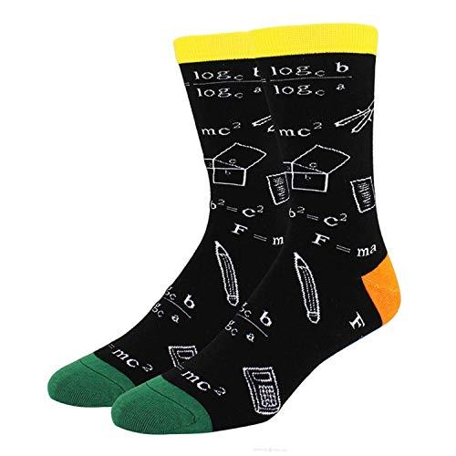 Jackgold Honey Chaussettes fantaisie pour homme avec dents de golf pour mathématiques Corgi Poule Cadeau de Noël Taille unique Formule de mathématiques noire.