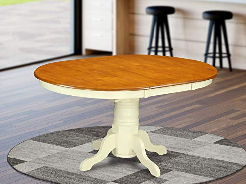 KET-WHI-TP a Pedestal Oval Dining Table 42'x60' with 18' Butterfly Leaf
