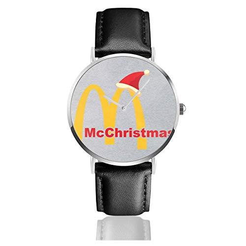 Unisex Business Casual McChristmas Weihnachten McDonalds Logo Uhren Quarz Leder Uhr mit schwarzem Lederband für Männer Frauen Junge Kollektion Geschenk