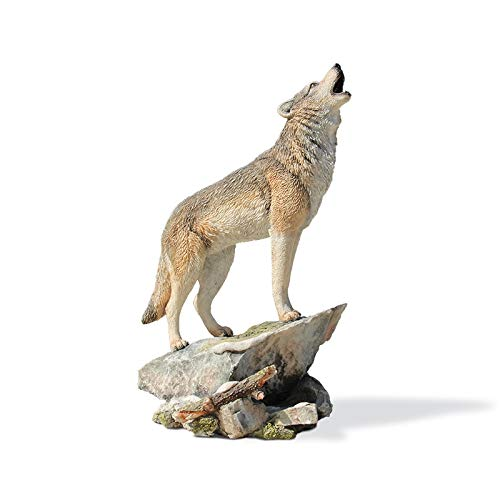 LBYLYH Estatua Regalo Colección de Arte de Lobos Simulación Modelo de Animales Decoración de Lobos Artesanías de Resina para el hogar Figuras Miniaturas Decoración