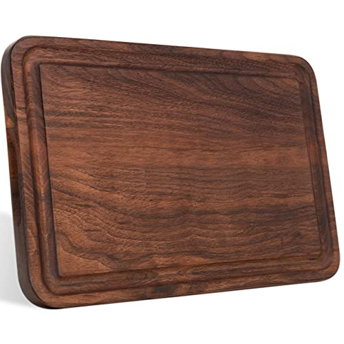 AZRHOM Small Walnut Wood Cutting Board for Kitchen with Handles Non-slip Mats Juice Groove, Chopping Board for Cheese Charcuterie Meat Vegetables (Gift Box Included) 12x8